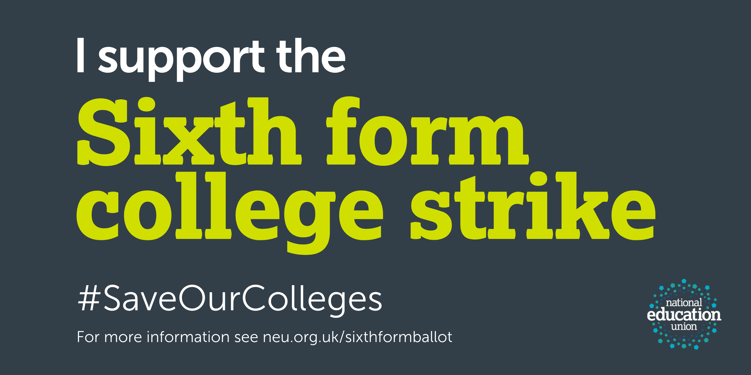 Sixth form colleges strike support Twitter card