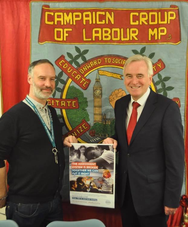 Solidarity and support for our ballot of Primary Teachers to abolish testing from the deputy leader of the Labour Party, Shadow Chancellor and MP for Hayes and Harlington John McDonnell #ballot #toomuchtesting