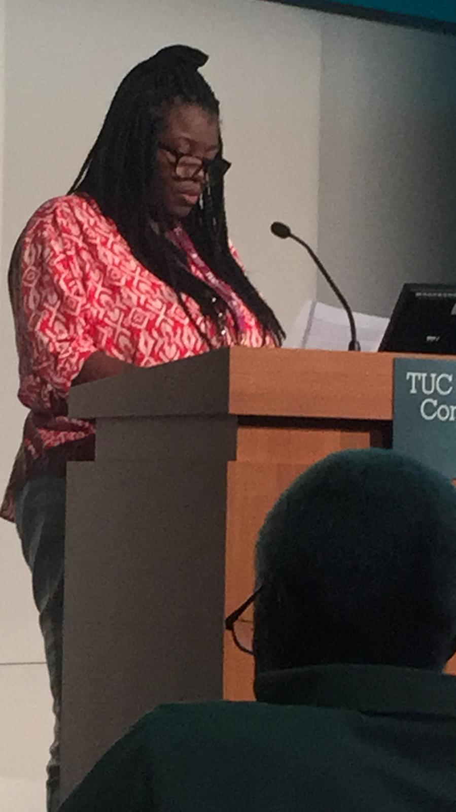 District Secretary Carol talking at the Trade Union Council Conference 2019