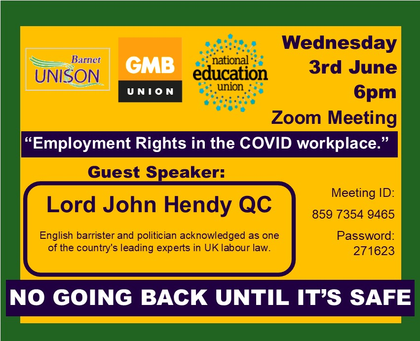John Hendy, employment rights, Covid, workplace