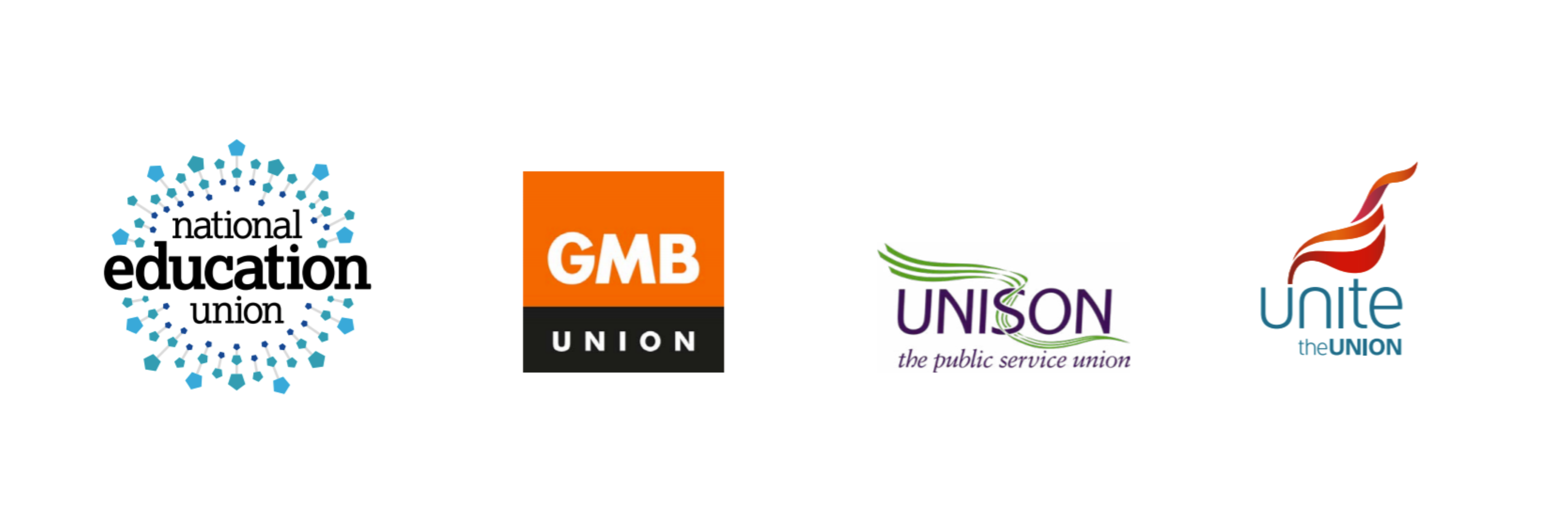 Joint union logos for NEU, GMB, Unite and Unison