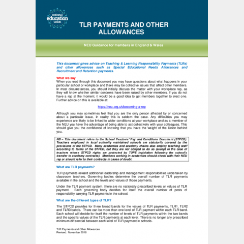 TLR payments and other allowances   NEU