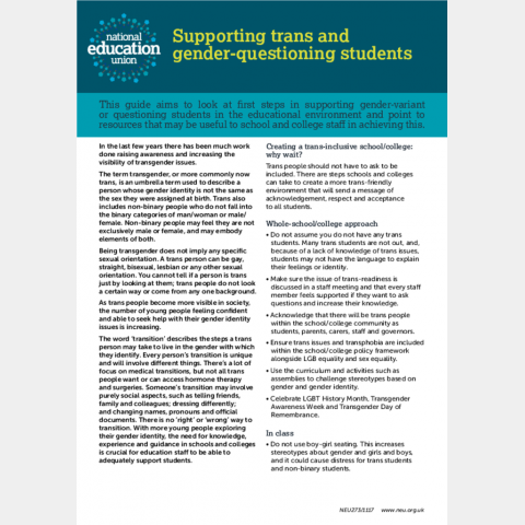 Supporting trans and gender questioning students | NEU