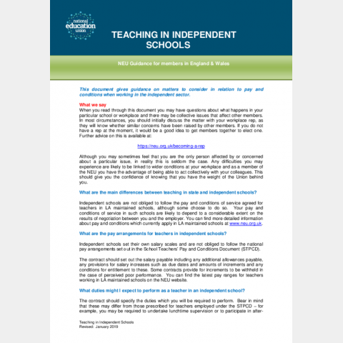Teaching in independent schools | NEU