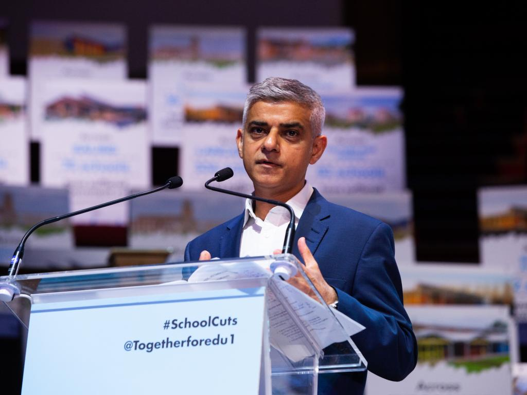 Sadiq Khan speaking at Together for Education