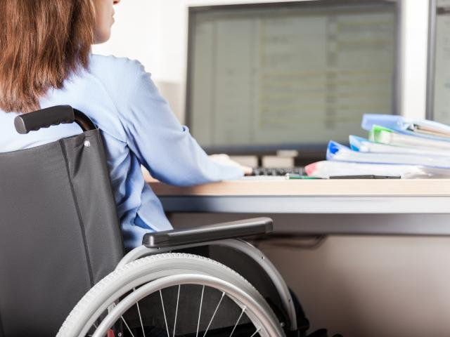 Disabled woman in a wheelchair