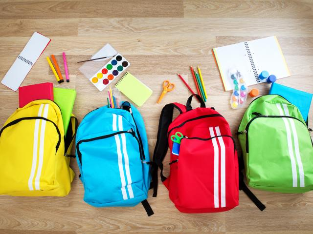 Colourful school bags
