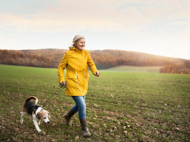 Senior woman with dog on a walk in an autumn nature