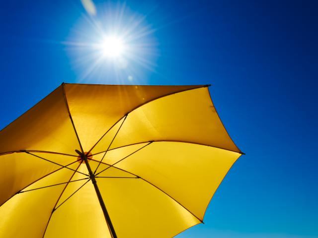 Yellow umbrella in sunshine