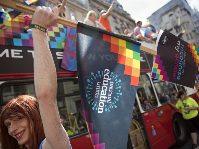 NEU pride flag and bus