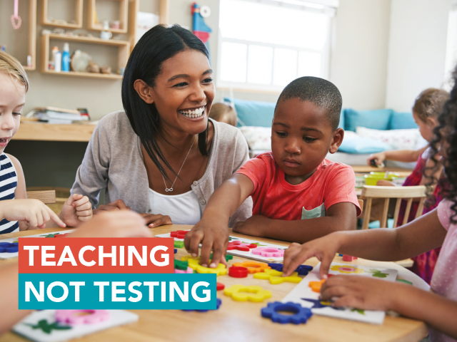 teaching not testing card
