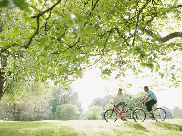 Man and woman cycling through a park