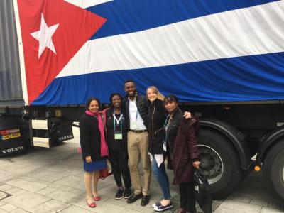International Solidarity Rep Carol with other delegates from the Cuba 2018 NEU solidarity delegation Event NEU conference 2019 Here they are Sending off a trailer load of instruments to Cuba. Solidarity for Cuba, Viva Cuba.#neu2019 #cuba #solidarity REPORT OF DELEGATION IS HERE;  https://neu.org.uk/sites/default/files/2019-04/Cuba%20delegation%20report%202018.pdf