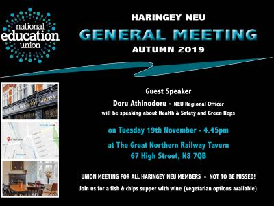 Haringey NEU General Meeting 19/11/19 Invitation